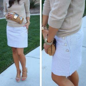 J. Crew White & Gray Striped Button Mini Skirt
